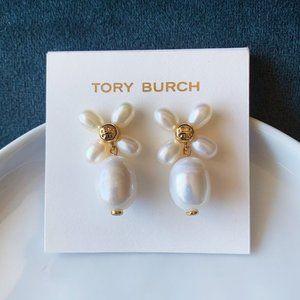 Tory Burch Logo Pearl Flower Earrings